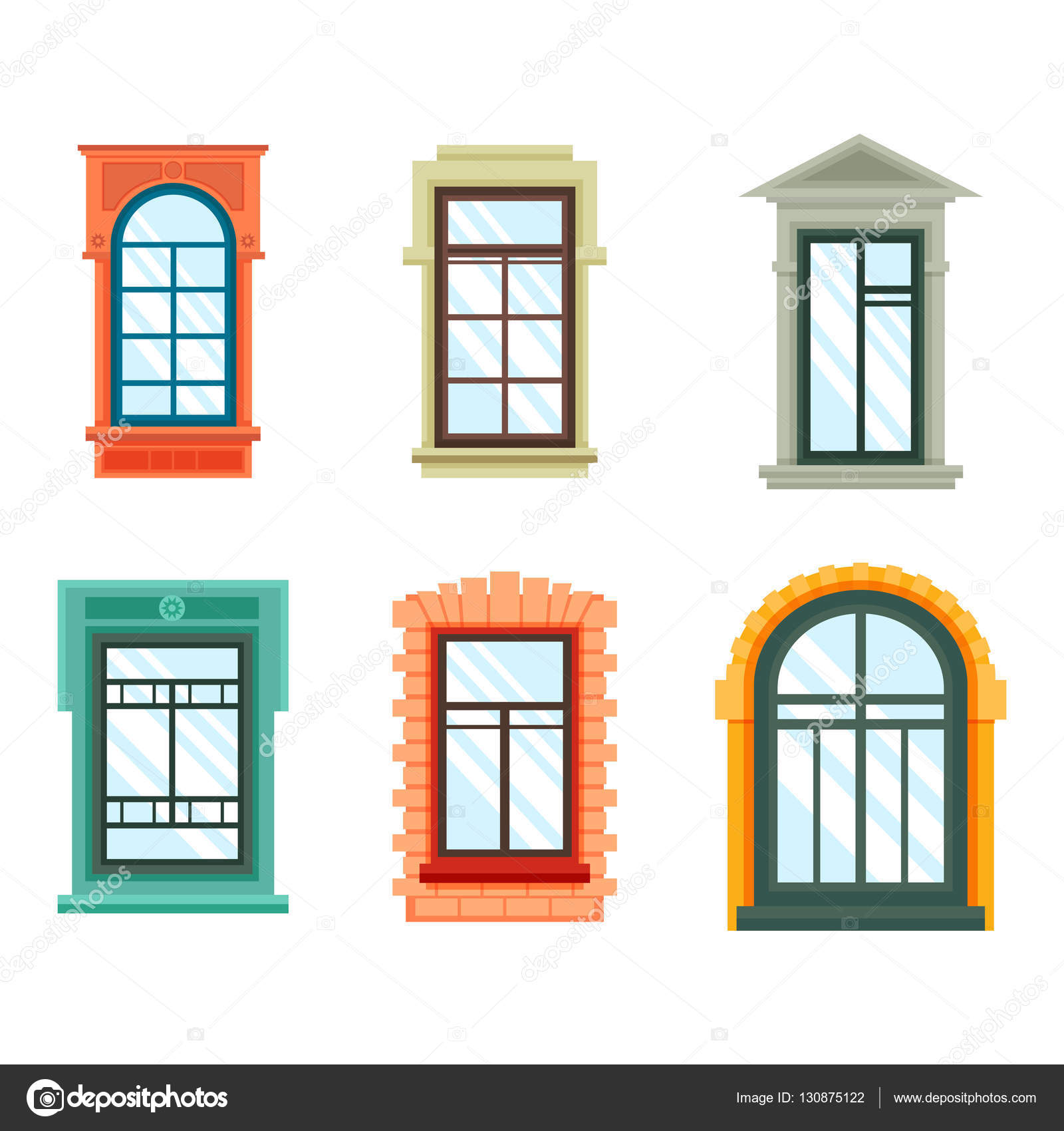 Marcos de ventana vieja vista aislado, pared de la casa — Vector de ...
