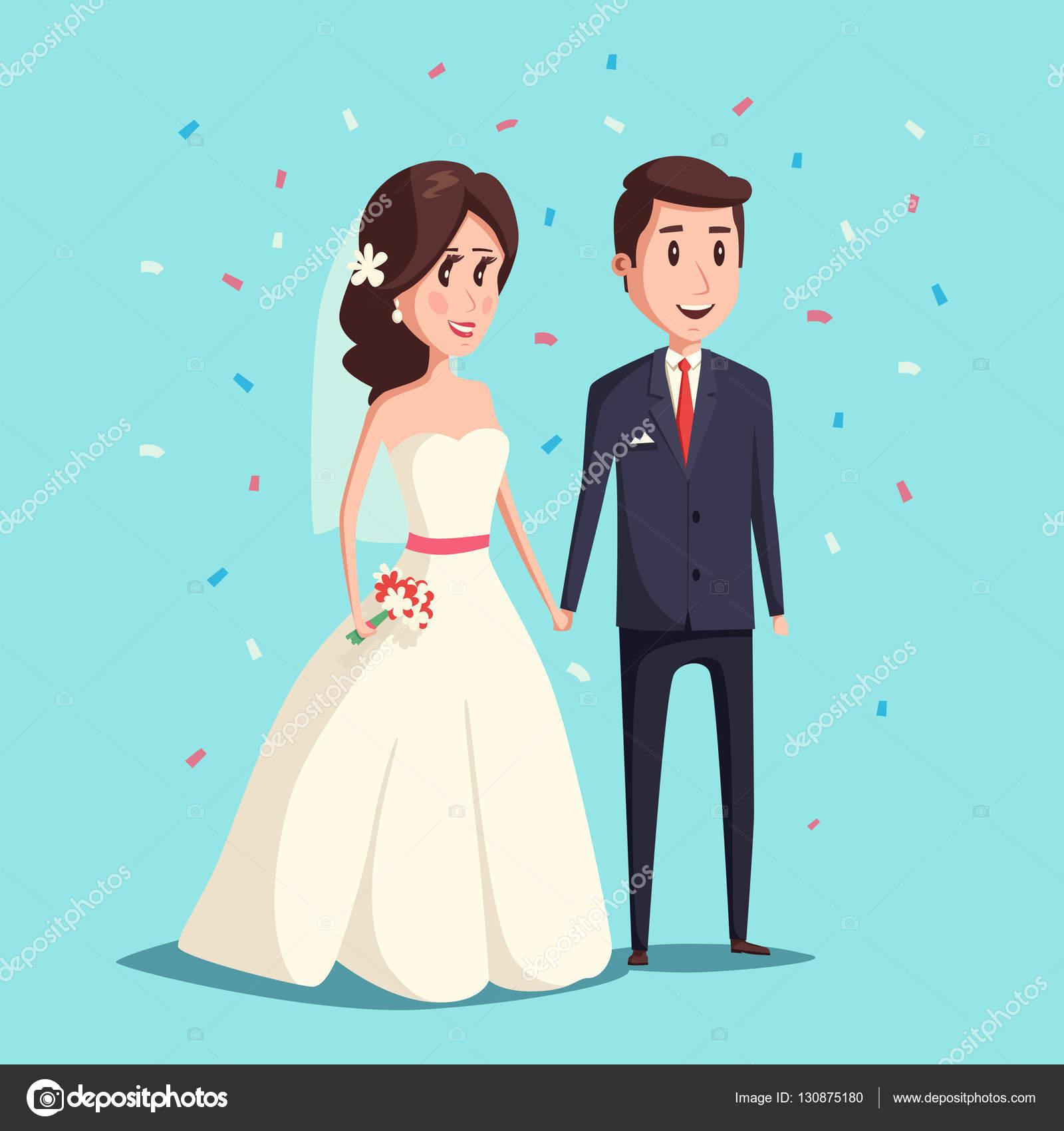 Novia y el novio como ilustración de pareja de boda — Vector de ...