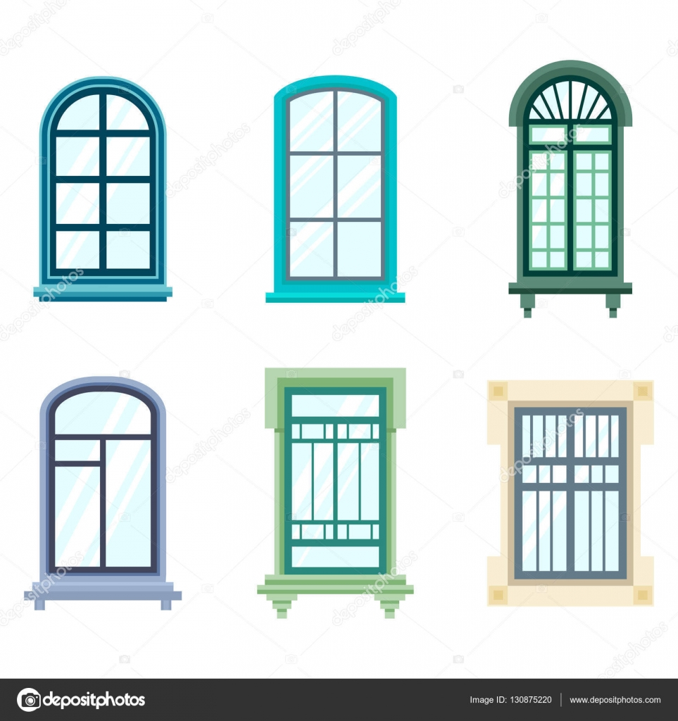 House windows frame design - Set Of Isolated House Window Frames Wood Old Window Frame Design Exterior View May Be Used For Balcony Or Architecture House Construction Theme