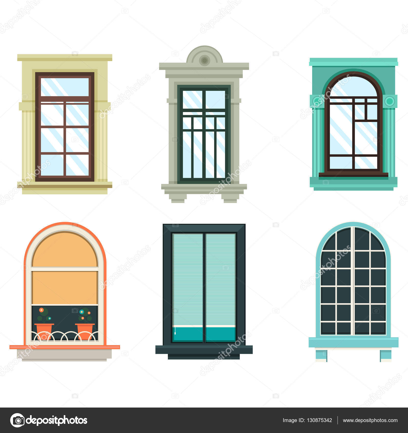 Wood windows frames isolated set exterior view stock for Window design vector