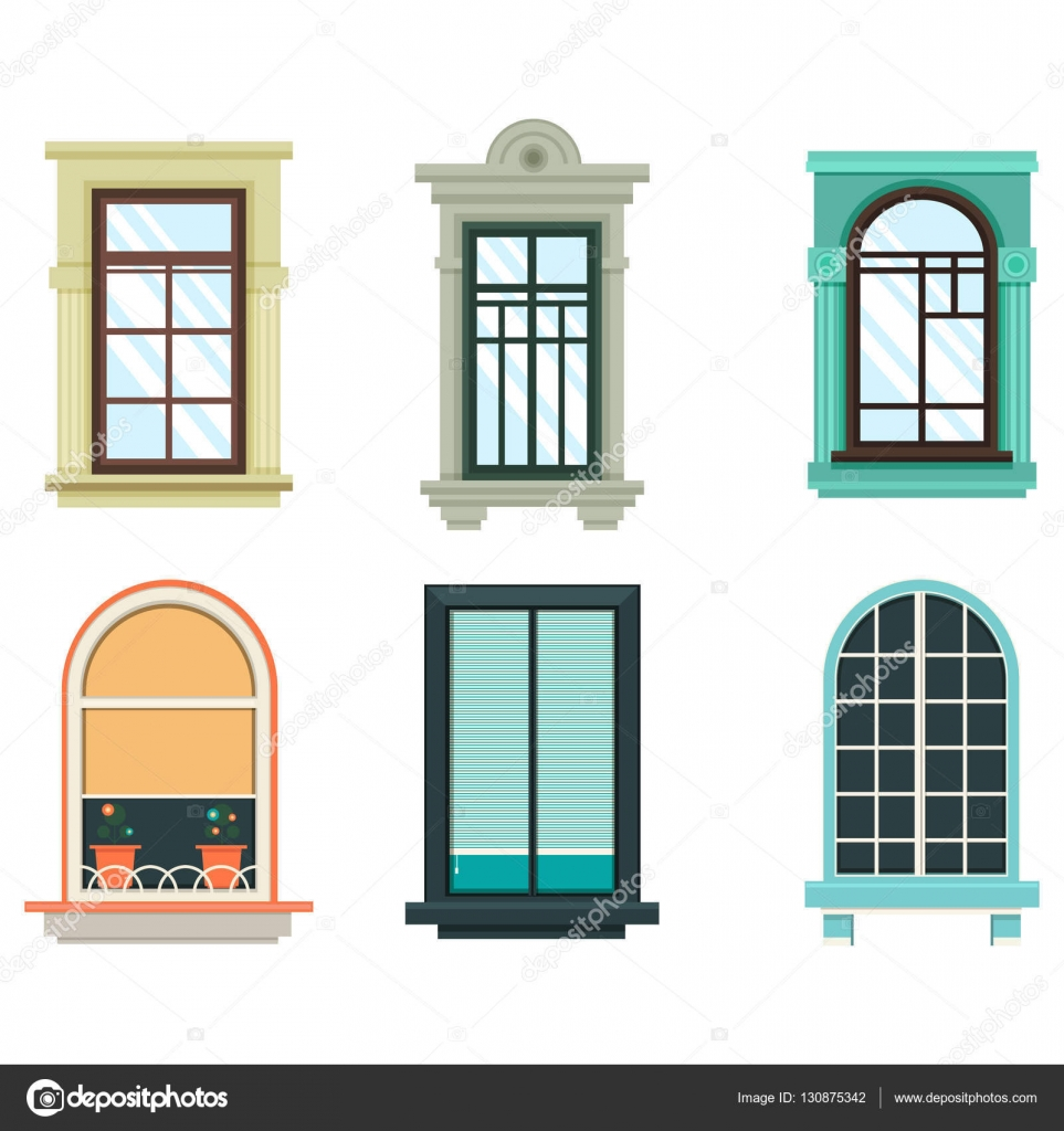 Wood windows frames isolated set exterior view stock for Window design clipart
