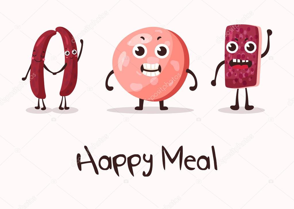 happy cartoon meat character with hands smiley faces on sausage or kielbasa beef and wurst frankfurt meat sausage may be used for steakhouse banner or meat market logo meal sign premium wdrfree
