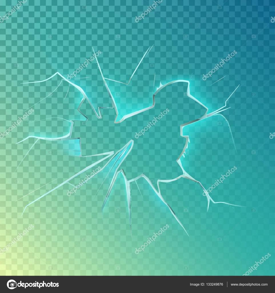 Agujero con grietas en la pantalla o cristal, ventana — Vector de ...