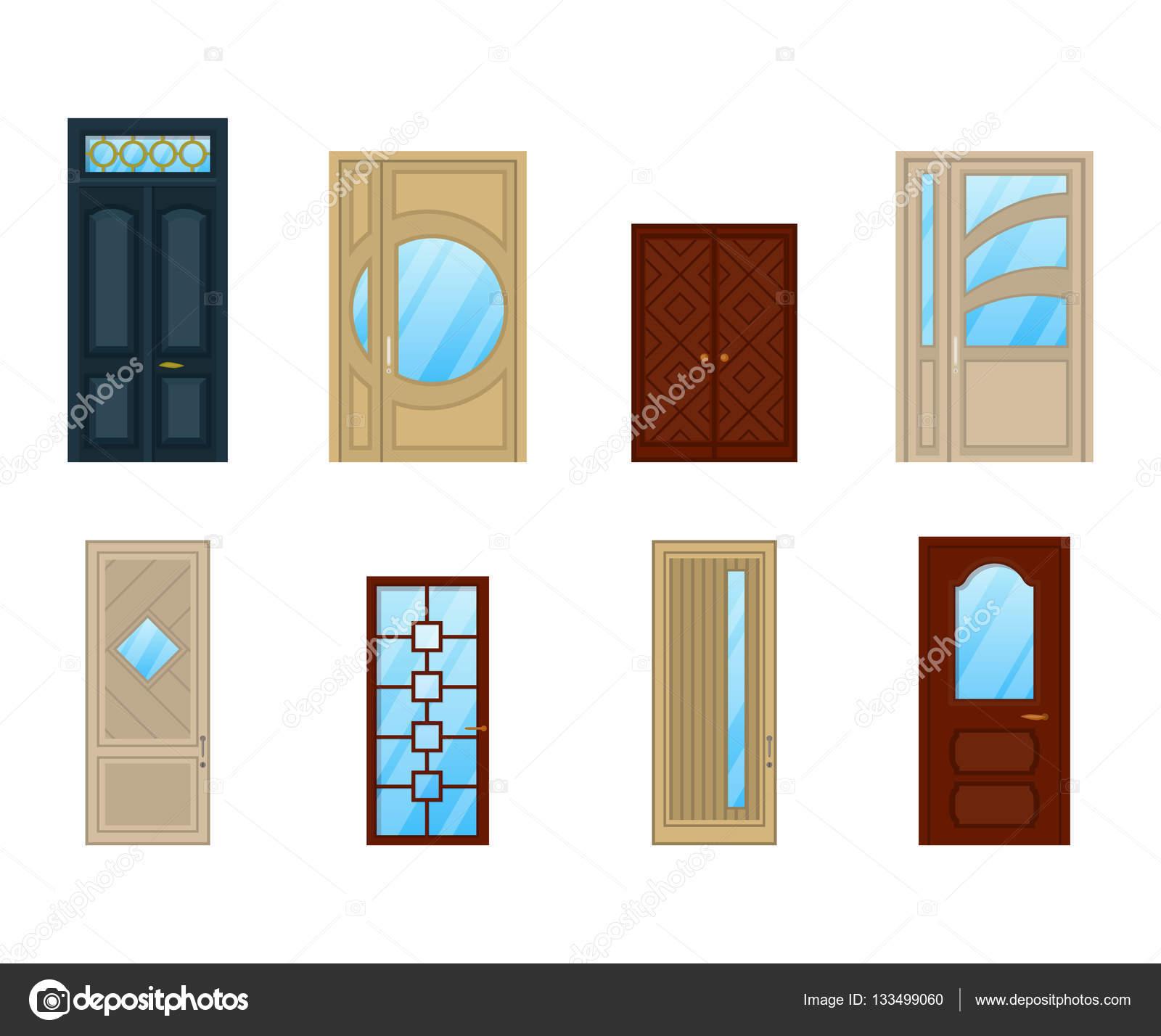 Conjunto de puertas con vidrio o ventanas de diseo Vector de