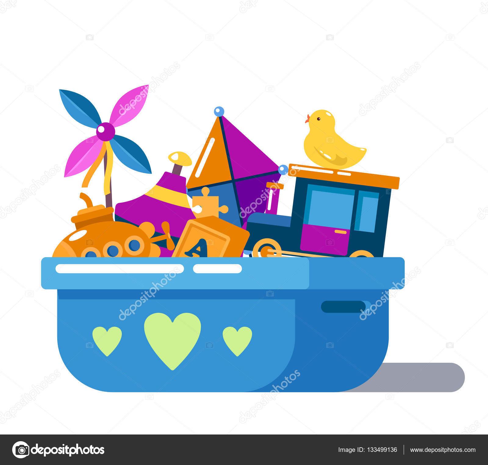 Juguetes de los niños en caja con corazones o pecho — Vector de ...