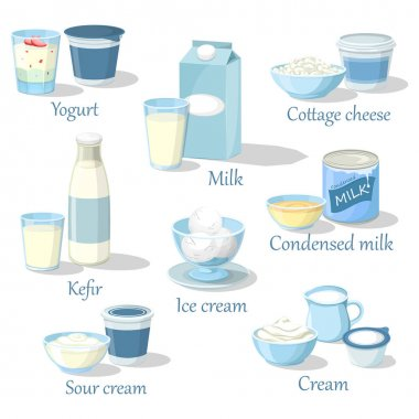 Yogurt and kefir, cottage cheese and ice cream
