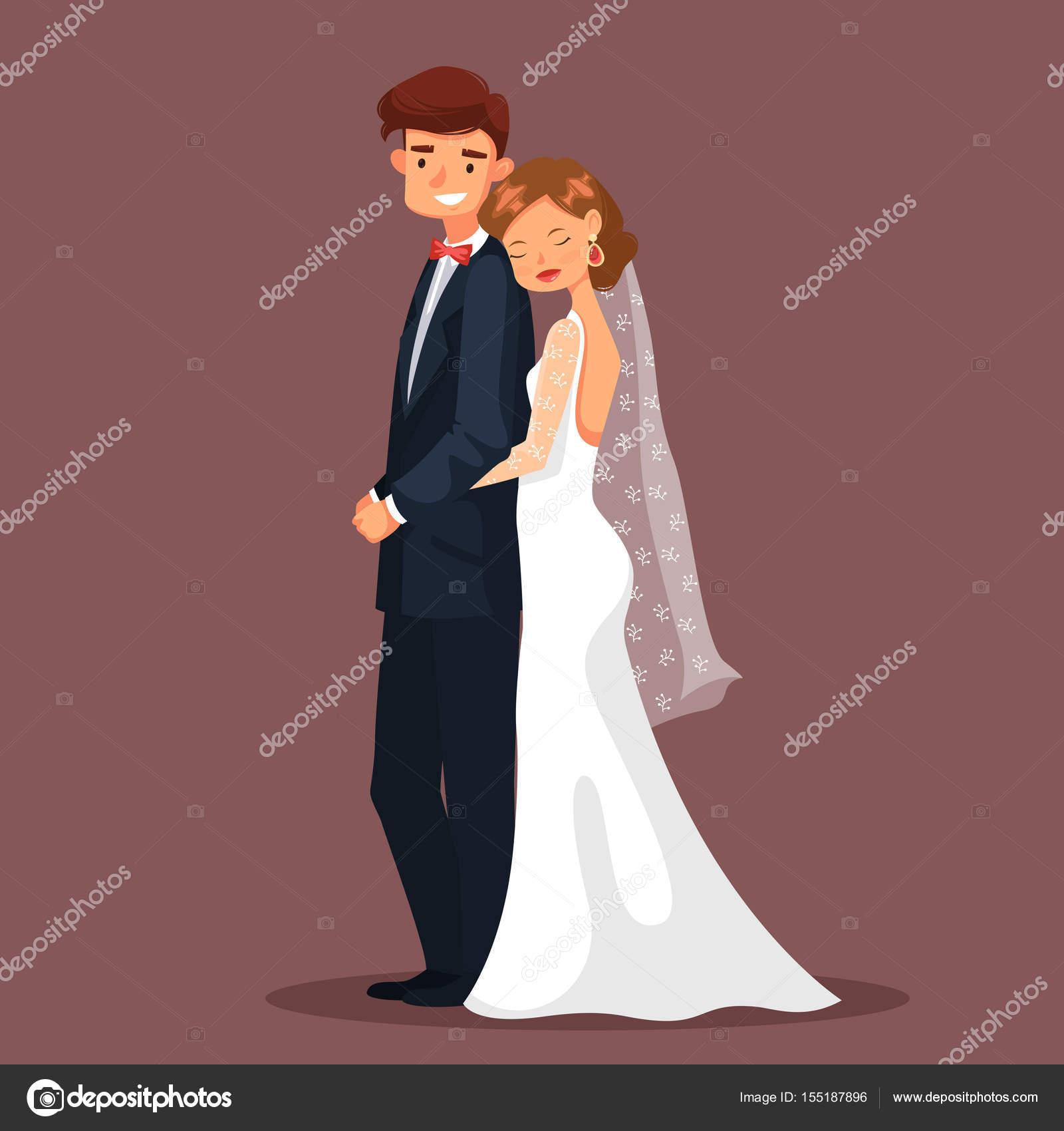 Mann und Frau, Braut und Mann umarmen bei Hochzeit — Stockvektor ...