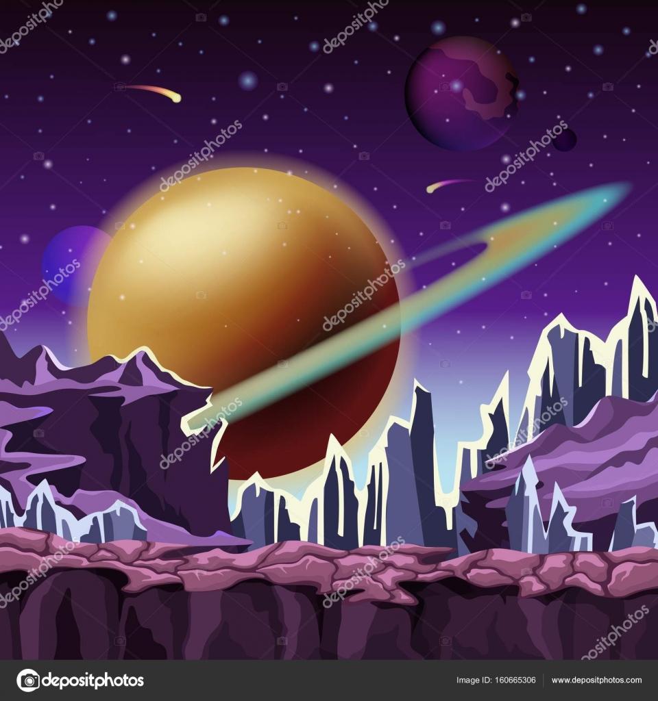Ledove Kameny Na Kreslene Scenerie Planet Stock Vektor C Cookamoto