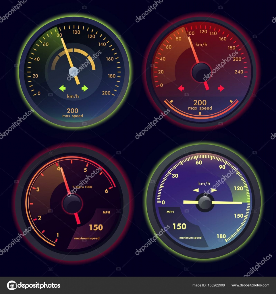 Set of isolated speedometers for dashboard — Stock Vector
