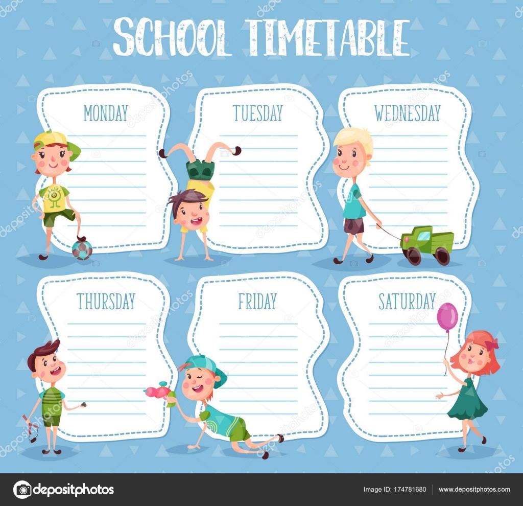 Calendario diario o escuela de educación para los alumnos — Archivo ...