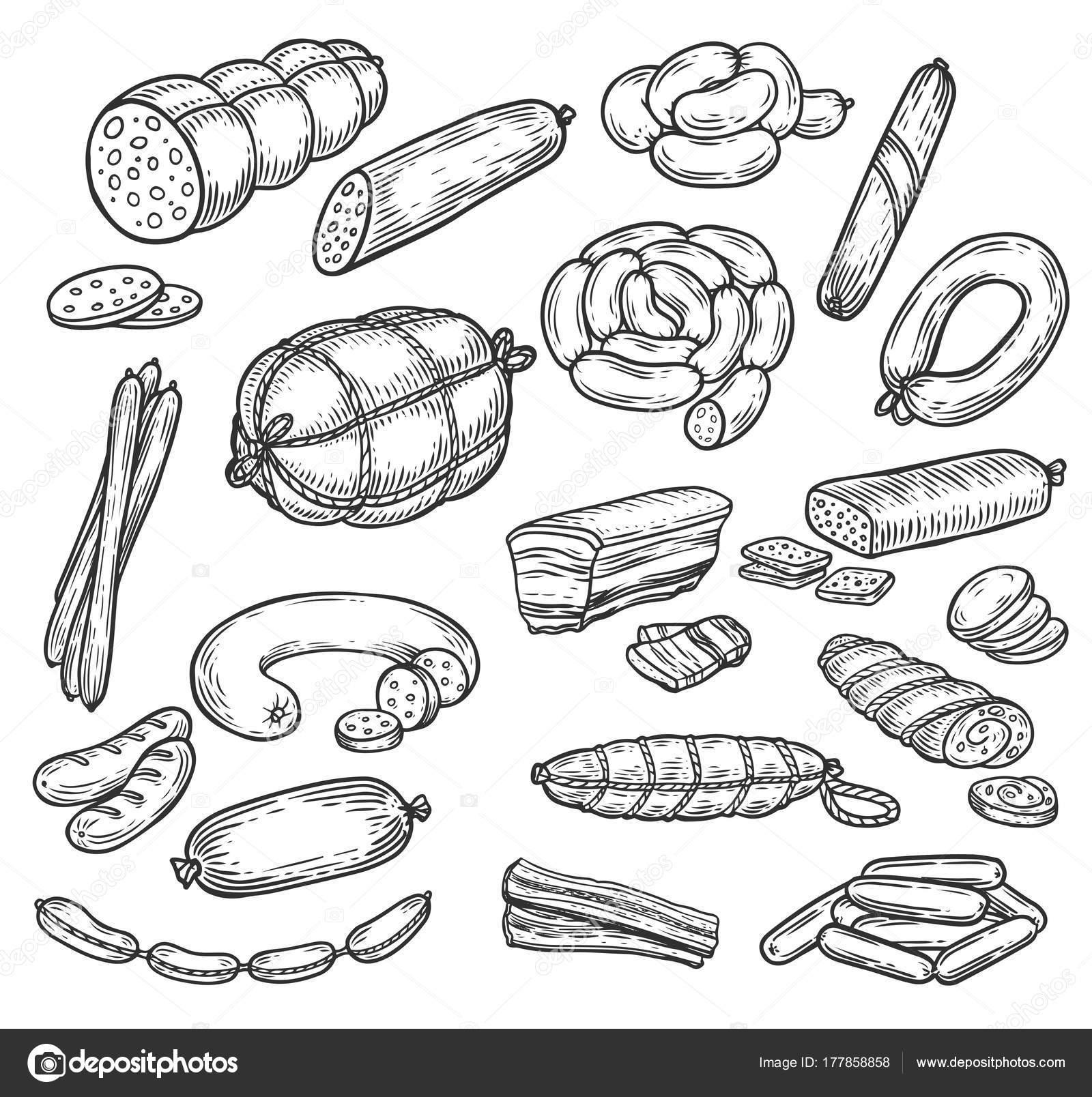 Ausmalbilder Wurst: Bocetos De Chorizo Y Salchichas, Productos De Carne
