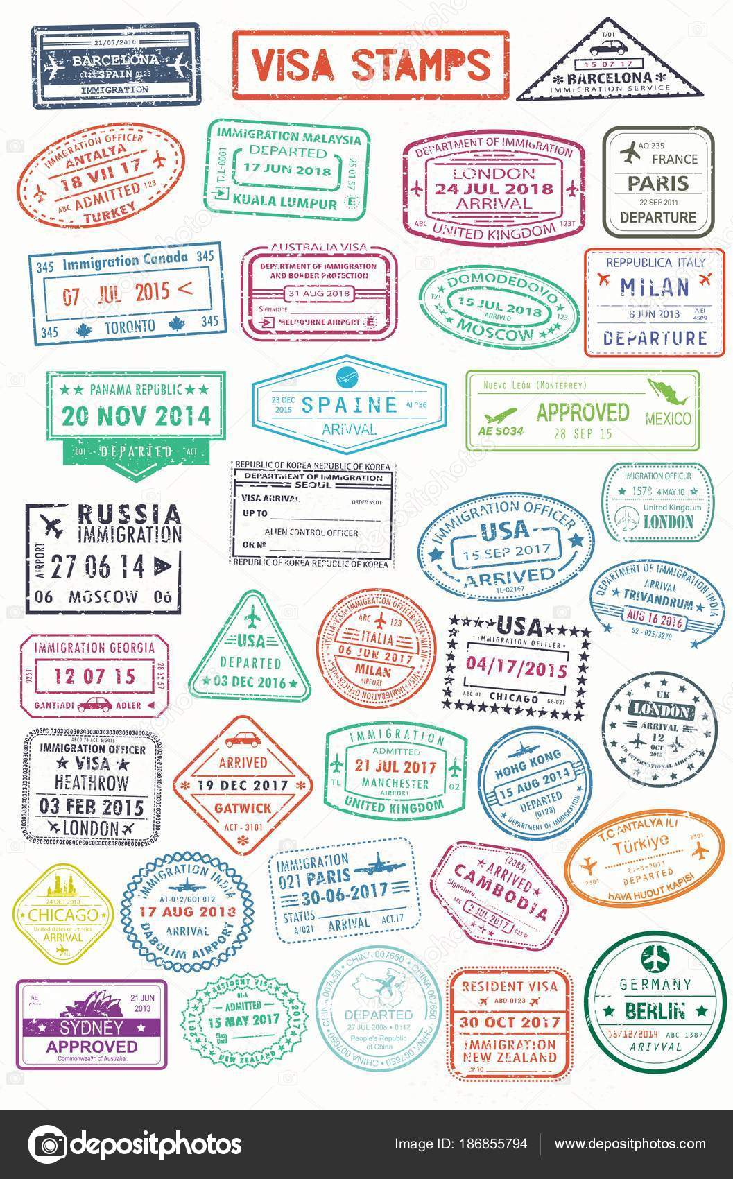 Passport stamps or visa pages for traveling abroad stock vector set of isolated stamps for visa or passport travel and tourism document germany and india russia and spain france and turkey australia and uk thecheapjerseys Image collections