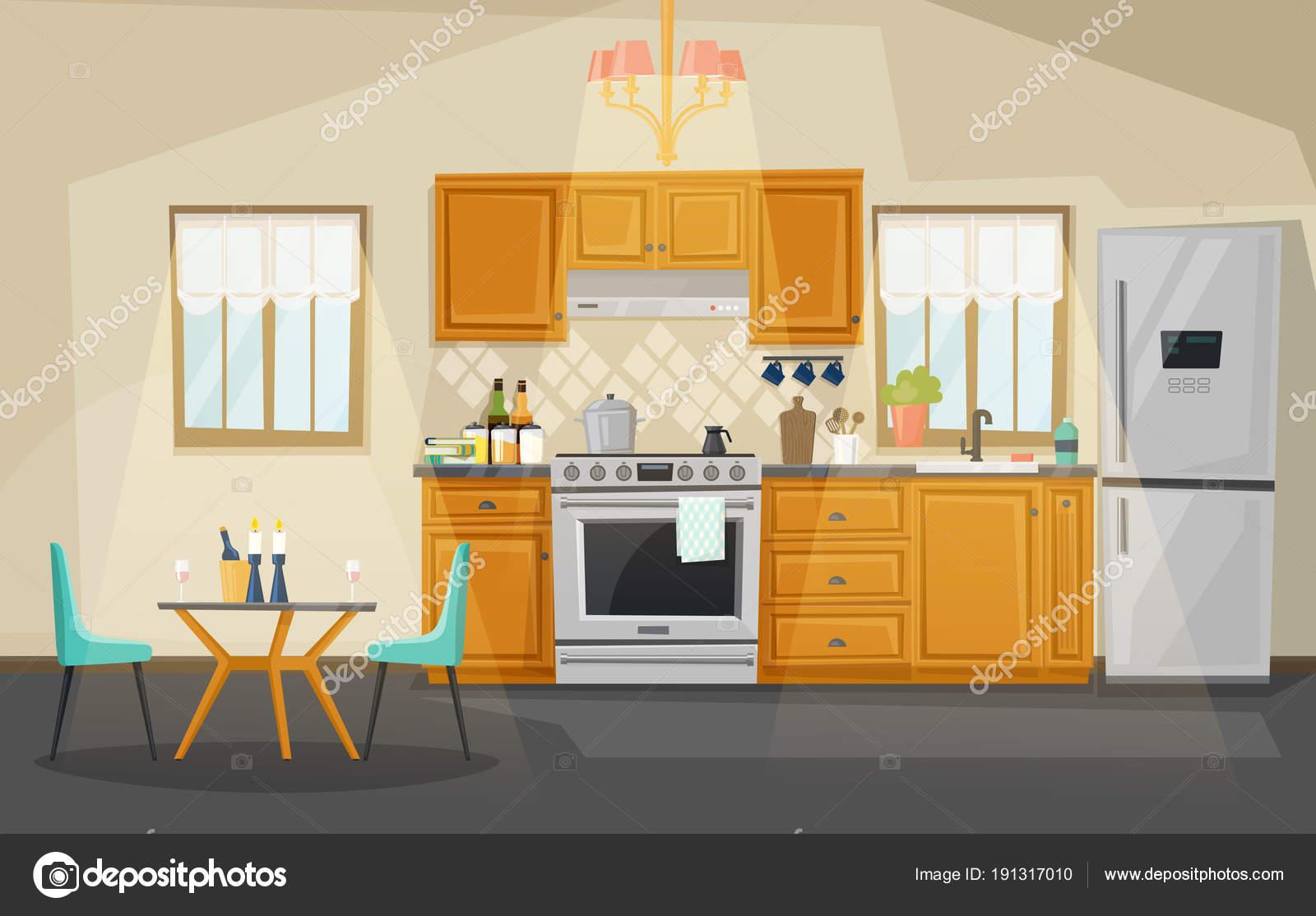 Vista all\'interno di cucina. Frigo e forno, utensile — Vettoriali ...