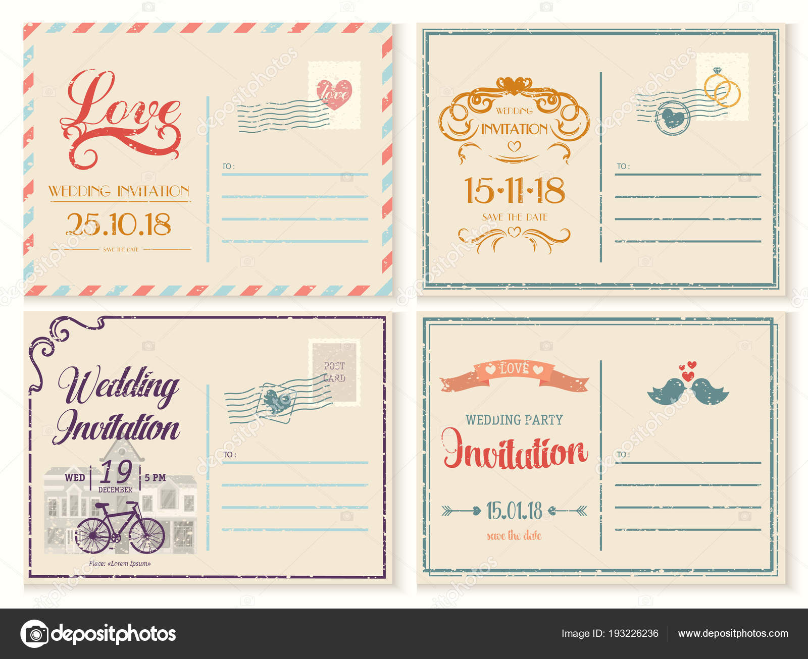 Old or retro,vintage wedding invitation empty card — Stock Vector ...