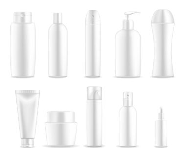 Cosmetic package, white plastic bottle containers