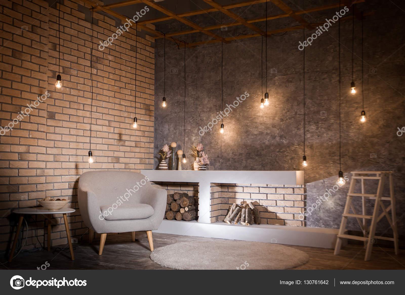 Zeitgenössisches Design des Wohnzimmers. Loft-Stil — Stockfoto ...