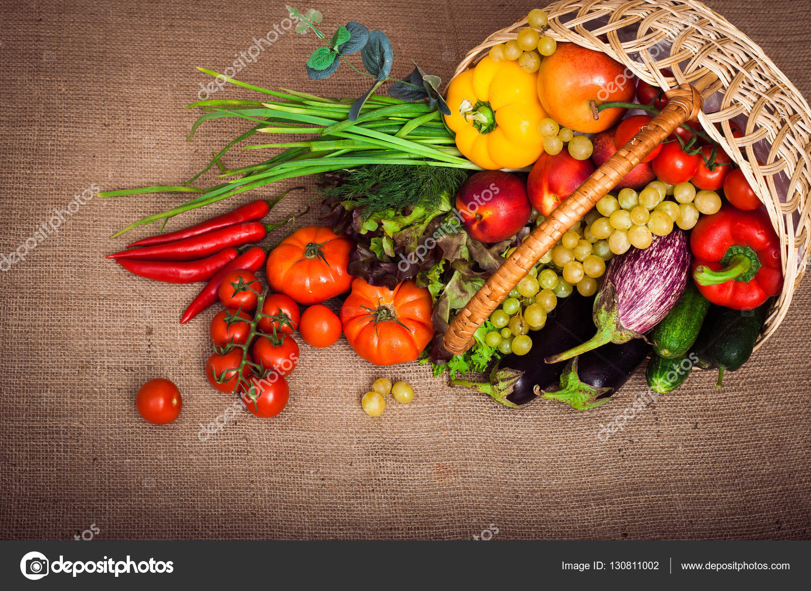 Basket With Fruits, Vegetables And Lettuce. Top View U2014 Stock Photo