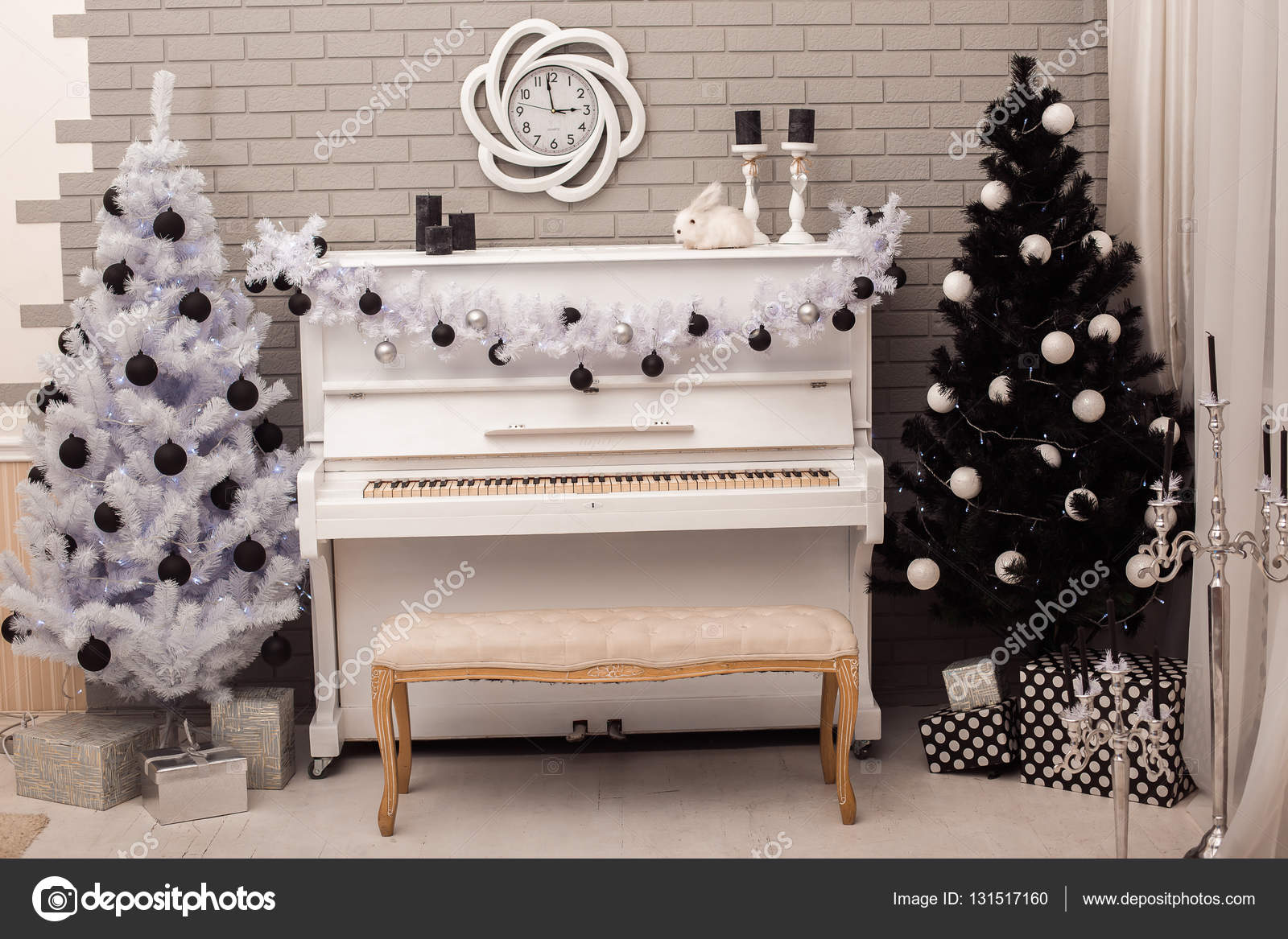 Black and White Christmas tree near white piano. — Stock Photo ...