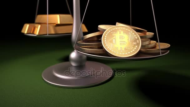 Bitcoins and Gold Ingots on the Scales