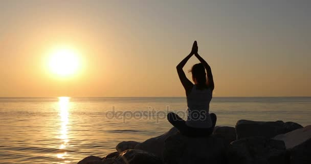 Morning meditation, woman practices yoga