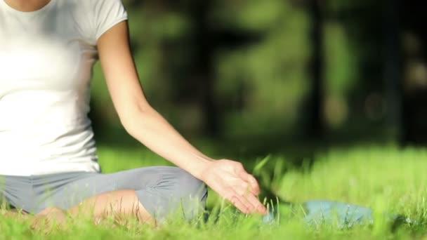 nő gyakorlatok jóga a parkban