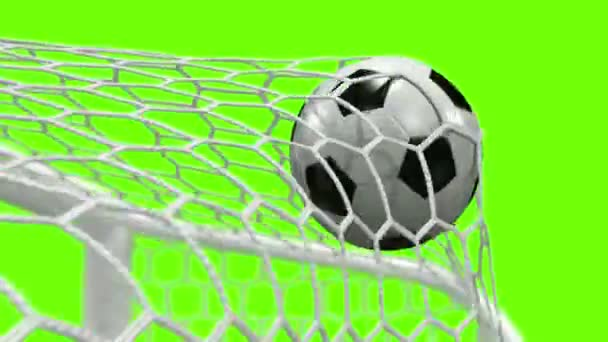 Goal!!! Soccer Ball Flies into the Goal on a green background