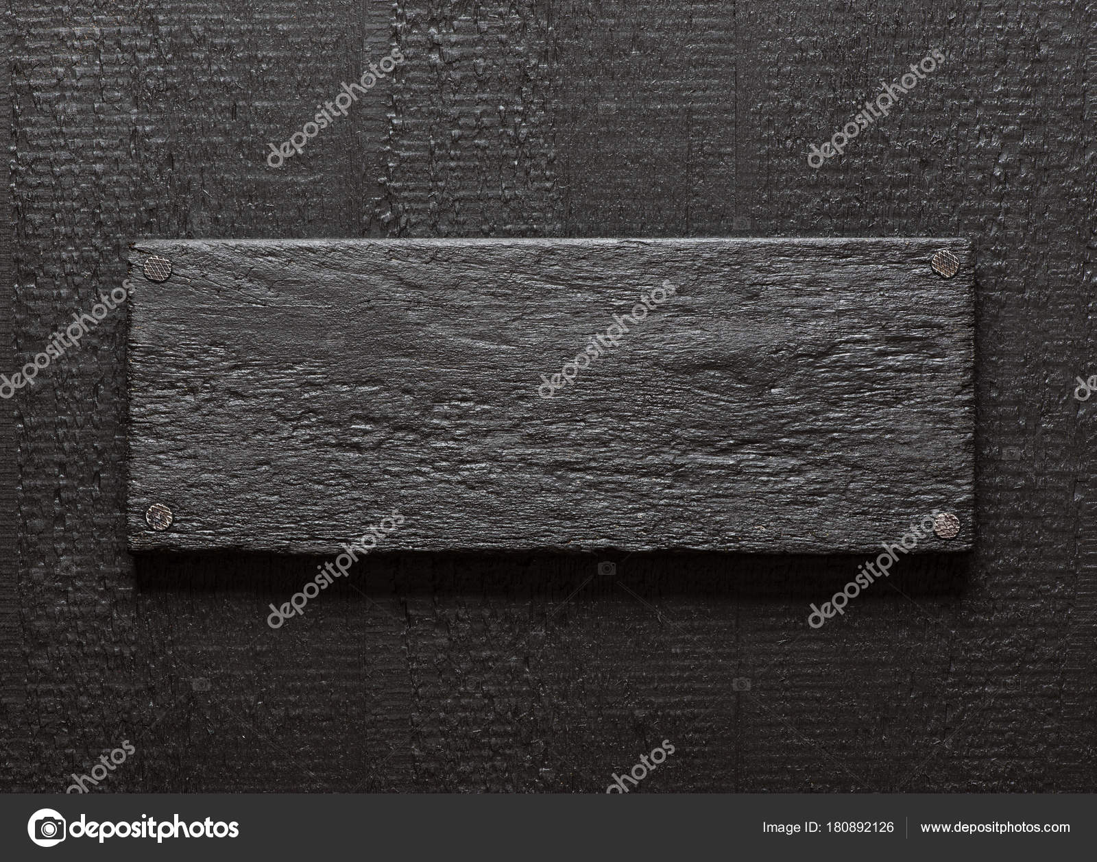 Dark Painted Rough Lumber Board Nailed To Black Wood Background Photo By Tuja66