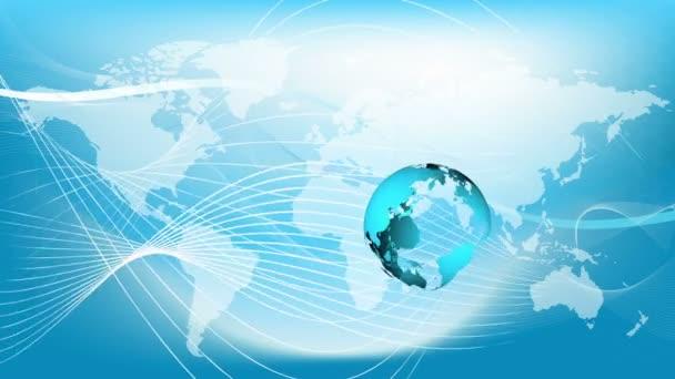 Modrá pozemské technologie, podnikání a komunikace na pozadí smyčky. Animaci zeměkoule otáčející se mapa světa v pozadí. Místo pro váš text a logo
