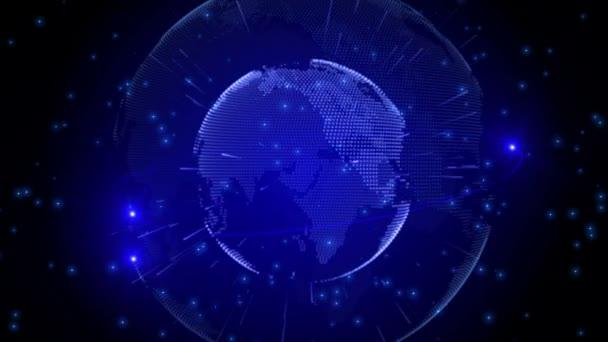 Modrá země technologie, obchodní a komunikační zázemí. Animace rotace zeměkoule