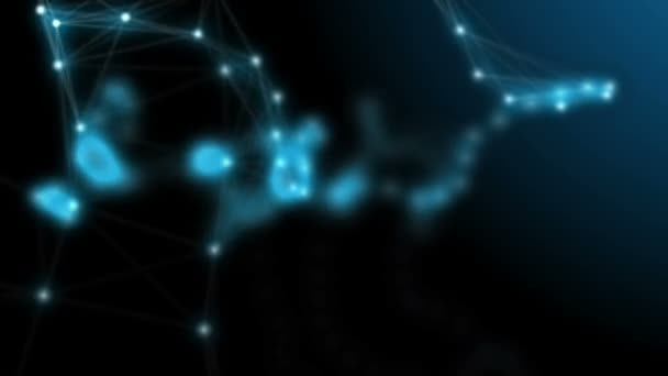 Futuristic technology motion background  Beautiful flowing nodes in network  connection  Dynamic plexus and particles fantasy