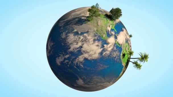animation earth globe spinning different realistic trees realistic
