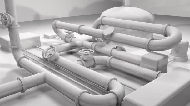 animierte 3D glänzend weiße Pfeifenstruktur. Generika Industrie, Technologie und Engineering Motion Hintergrund. 3D-Darstellung