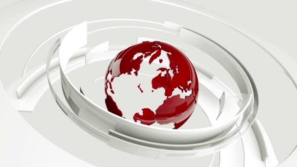 Bezešvá smyčka: 3d lesklý bílý zakřivené tvary a červené Earth zeměkoule otáčí. Televizní zprávy, vysílání, technologie, věda a inženýrství. Realistické stíny a odrazy. 3D vykreslování.