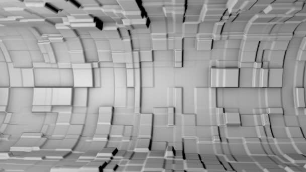 Absztrakt dinamikus fehér kocka blokk fal véletlenszerű mozgást. Reális műanyag textúra. 3D-leképezés.