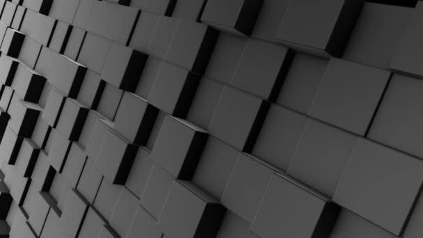 Abstract dynamic white cube blocks wall with random motion. Realistic plastic texture. 3D rendering.