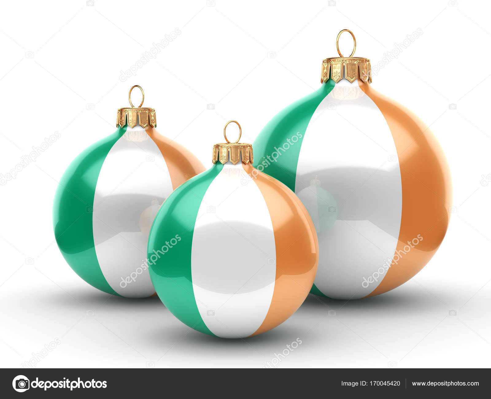 3D rendering Christmas ball with the flag of Ireland — Stock Photo ...
