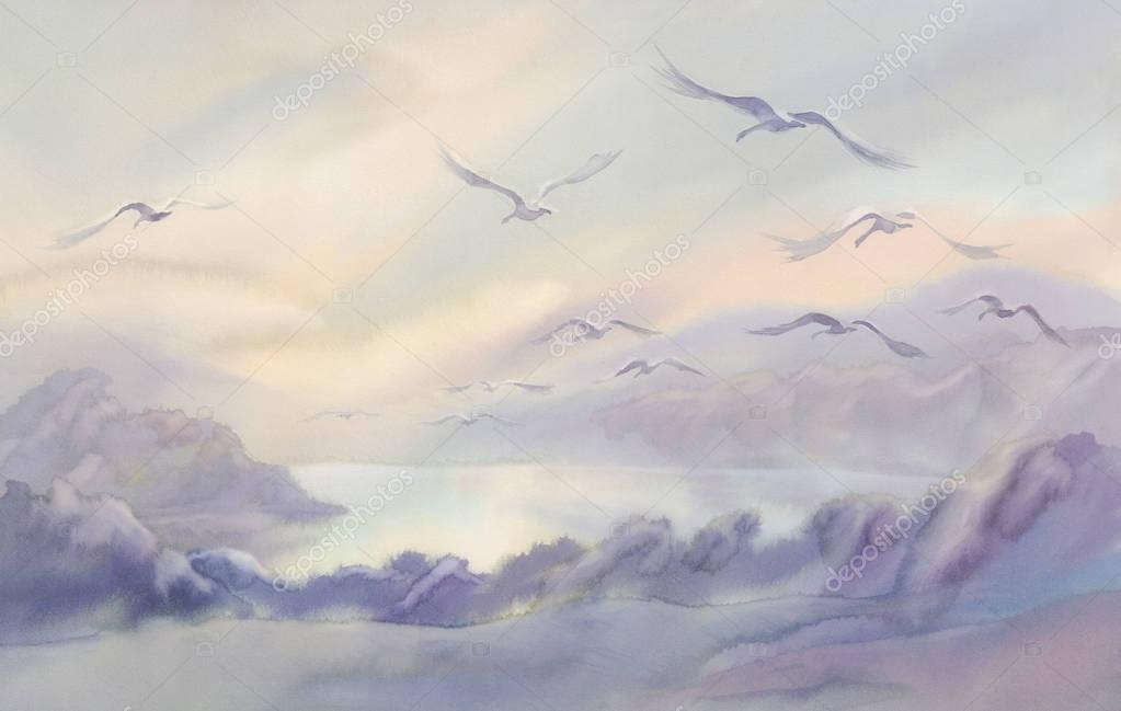 flying swans watercolor landscape