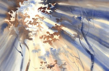Sunny forest watercolor landscape