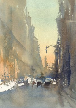 modern city street abstract view watercolor
