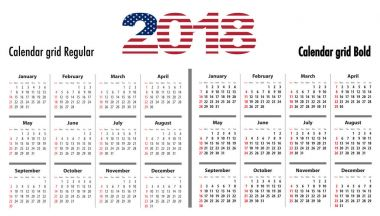 Calendar grid for 2018 with USA flag colors on 2018 digits