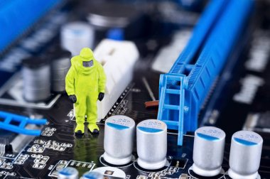 Motherboard repairing or cleaning concept