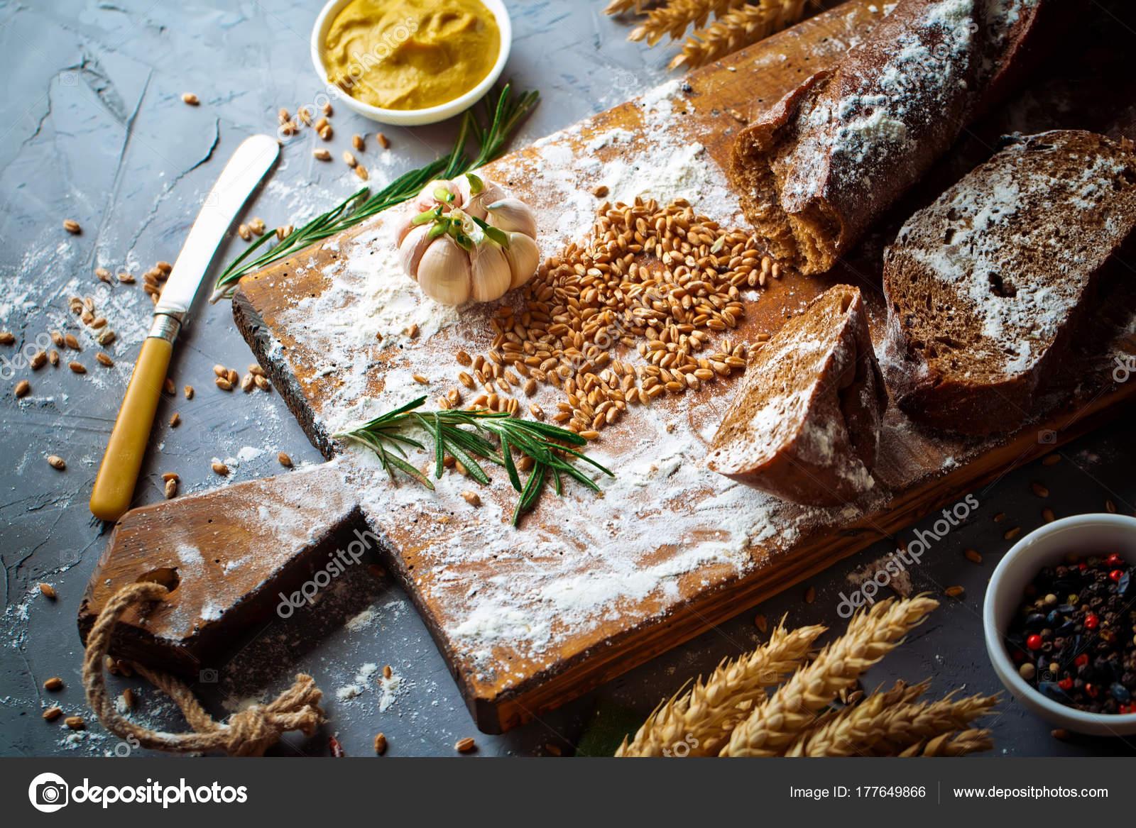 Pieczywo Wypieki Kompozycji Akcesoria Kuchenne Stary Tlo Zdjecie