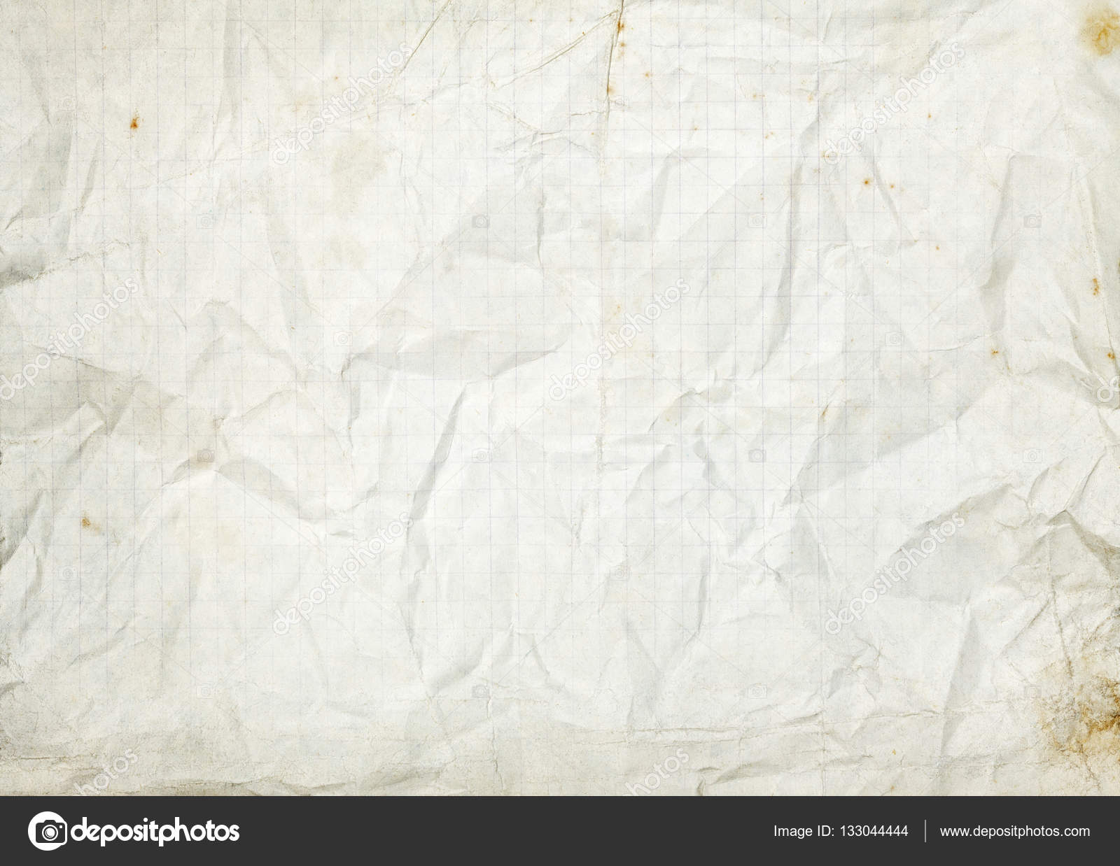crumpled blank white old lined paper background — stock photo