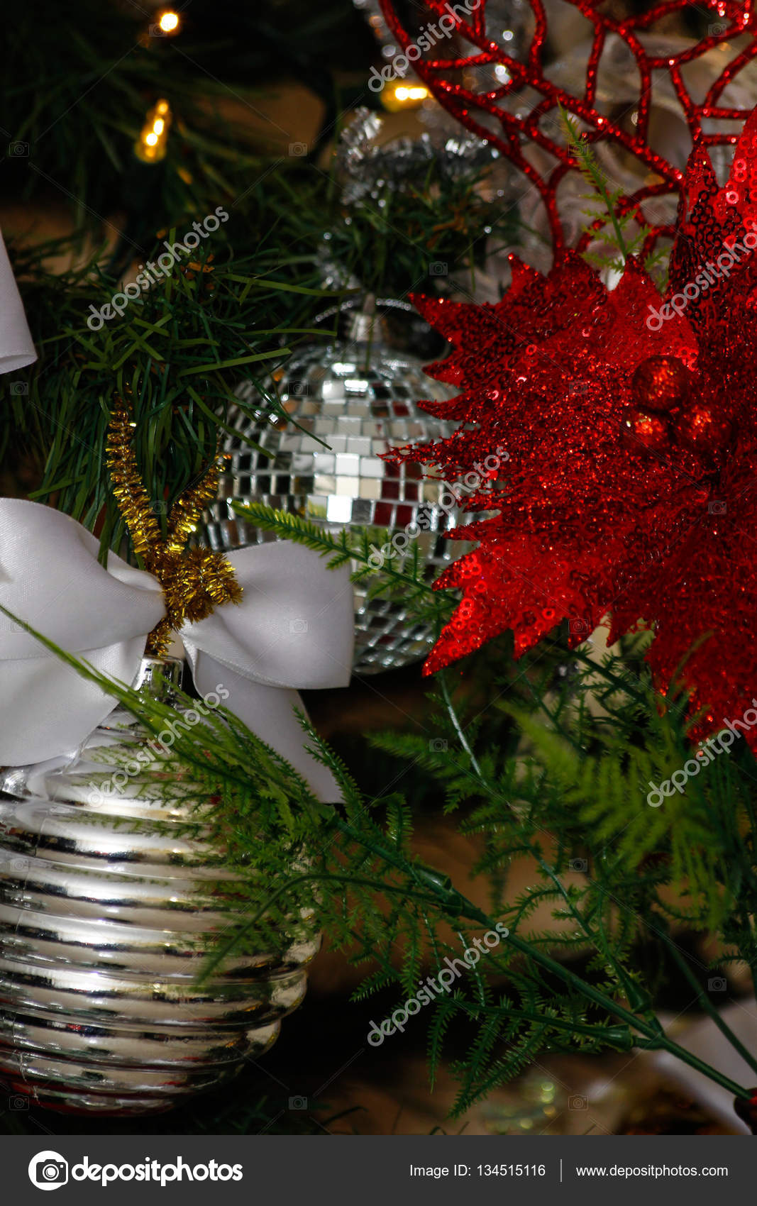 Silver White And Red Christmas Tree Decorations Stock Photo Image By C Elrivera 134515116
