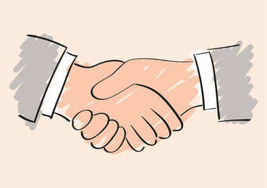 Vector sketch drawing of handshake. Symbol of friendship partnership and cooperation