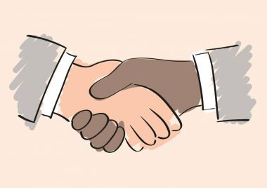 Hand vector drawing of handshake between a black/brown/afro american and white/caucasian man