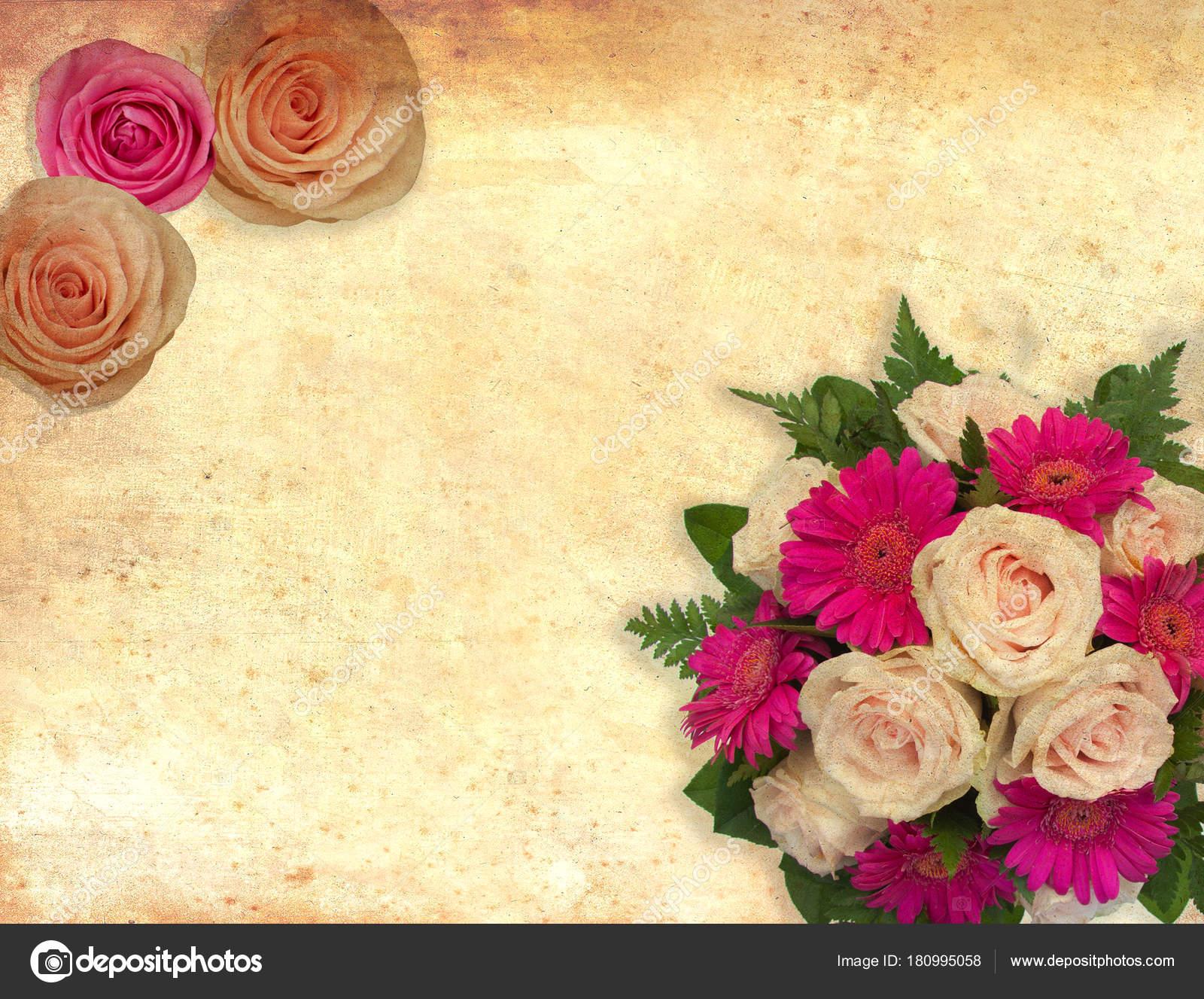 Karte Mit Rosen Blumen Auf Vintage Hintergrund Fur Valentinstag