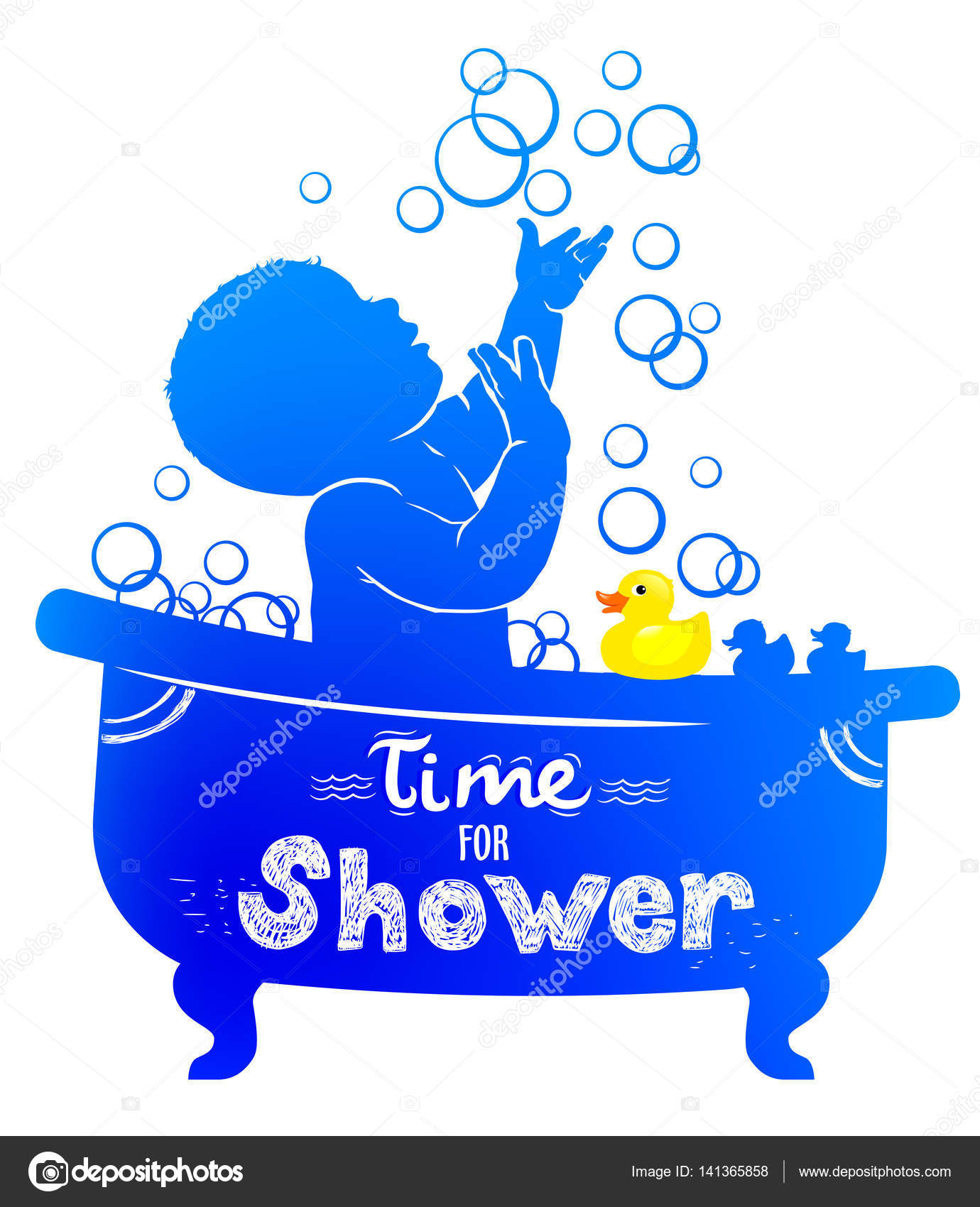 silhouette baby bath with bubbles and rubber duck stock vector