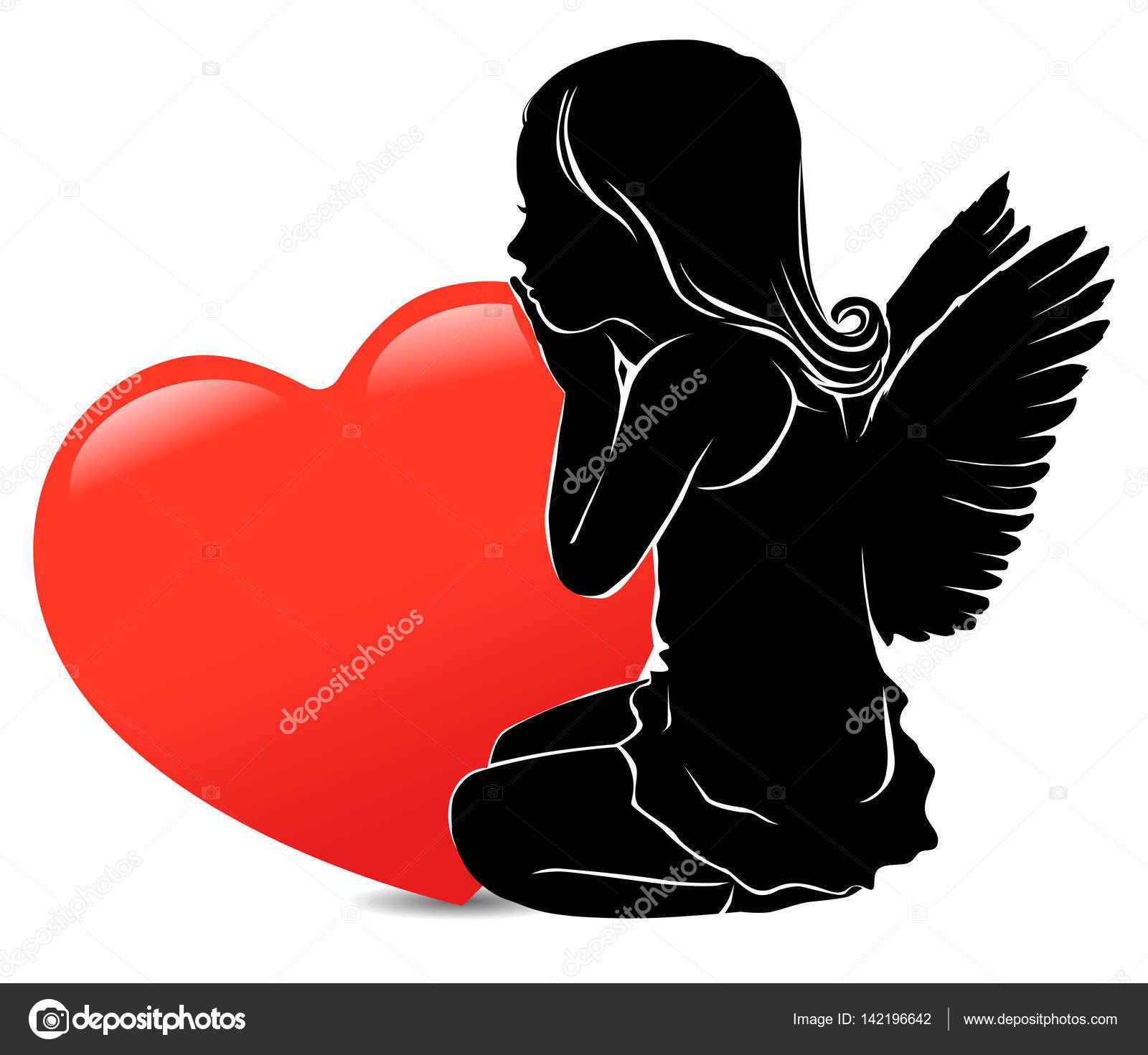 trauriges m dchen engel und gro en roten herz stockvektor pinkkoala 142196642. Black Bedroom Furniture Sets. Home Design Ideas