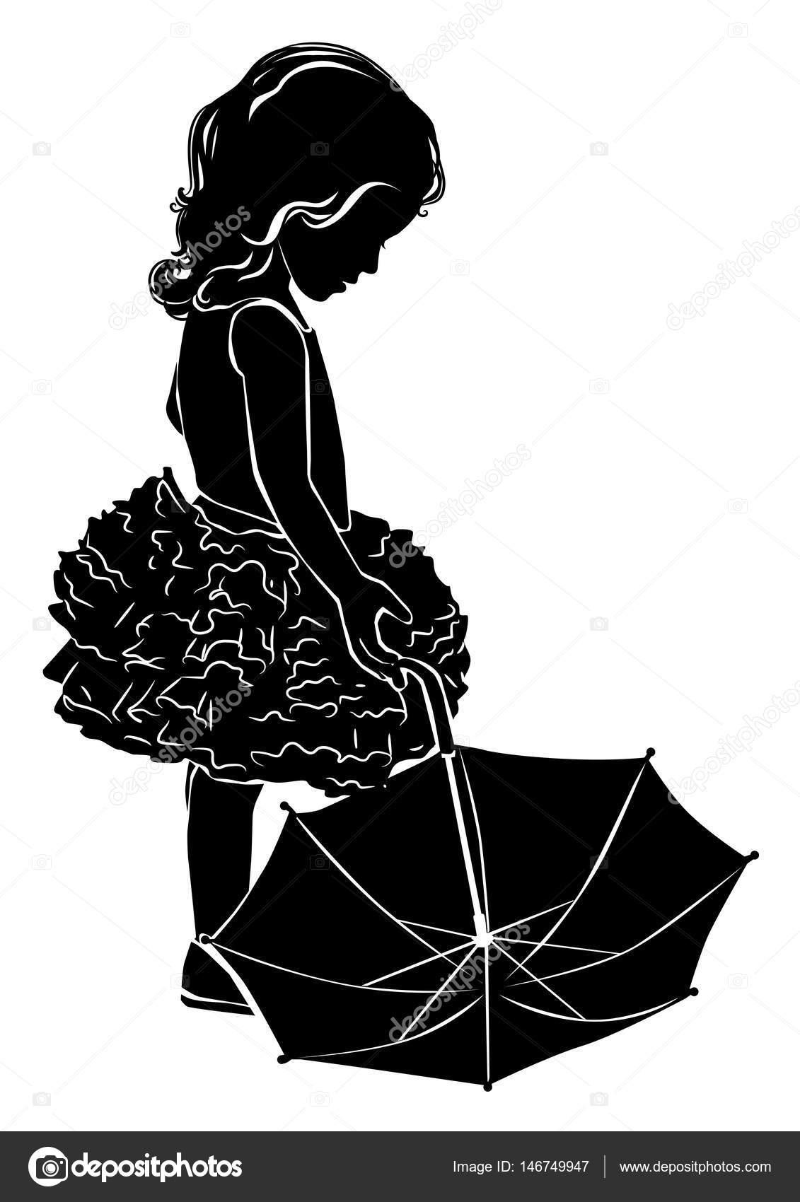 Silhouette girl with umbrella — Stock Vector © pinkkoala ...